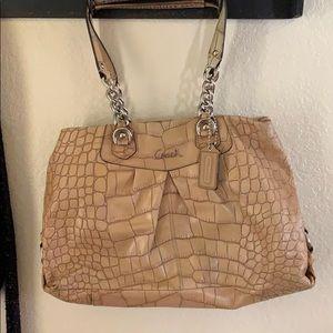 Coach purse. Alligator pattern. Tan. Leather.